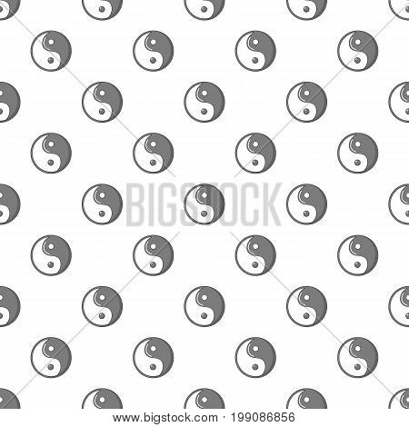 Yin yang symbol taoism pattern in cartoon style. Seamless pattern vector illustration