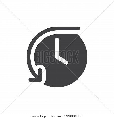 History simple icon vector, filled flat sign, solid glyph isolated on white. Clock symbol with counterclockwise back circular rotating arrow, logo illustration. Pixel perfect vector graphics