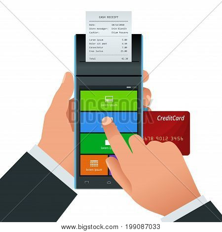 Vector payment machine and credit card. POS terminal confirms the payment by debit credit card, invoce. Vector illustration in flat design. NFC payments concept.