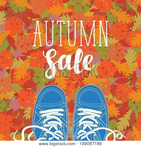 Autumn banner with the inscription Autumn sale and blue shoes on the background of seamless texture of colorful autumn leaves. Can be used for flyers banners or posters.