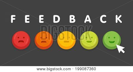 Feedback Emoticon Emoji Smile Icon Buttons With Mouse Click Vector Illustration