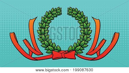 Wreath and tape organized in wow. Vector illustration.