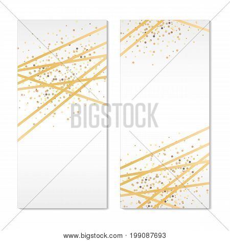 Gold Banners Sparkles Background. Golden Banner Invitation. You are invited, golden glitter invitation. Gold sparkles, Print ribbon, birthday party, congratulation, greeting card