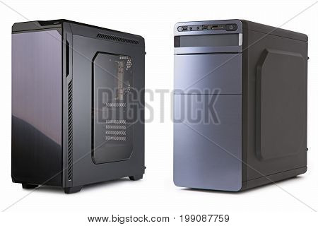 Computer black case isolated on white background isolation
