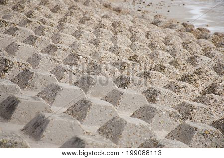 Concrete blocks in pattern for coastal protection