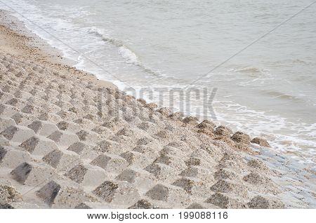 Concrete coastal protection structure at coast line