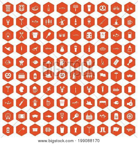 100 beer icons set in orange hexagon isolated vector illustration