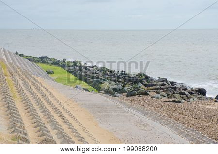 Coastal beach area with concrete erosion defences