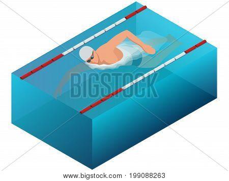 Sportsman swim line race indoor interior infographics. Flat isometric male swimmer vector illustration.