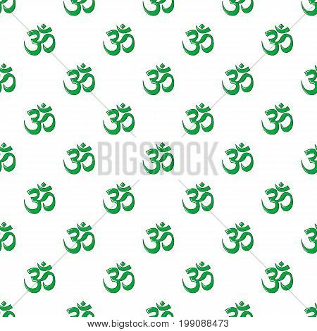 Om symbol of hinduism pattern in cartoon style. Seamless pattern vector illustration