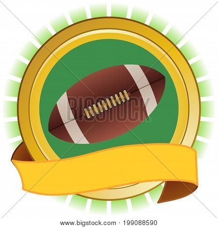 American Football Rugby Ball and Round Yellow and Green Shield With Blank Banner