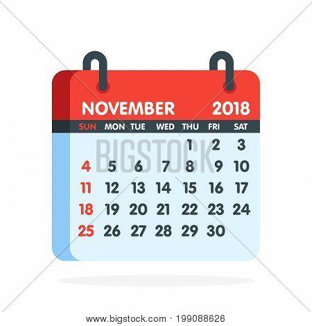 Calendar For 2018 Year. Full Month Of November Icon. Vector Illustration