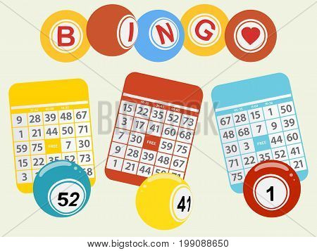 Trio of Bingo Cards and Balls Over Light Green Background