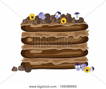 an illustration of a layered chocolate cake with cream filling decorated with chocolate chips and edible flowers