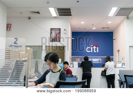 Citibank, Bangkok, Thailand - August 5, 2017: Many people come to financial transactions. After receiving the salary.