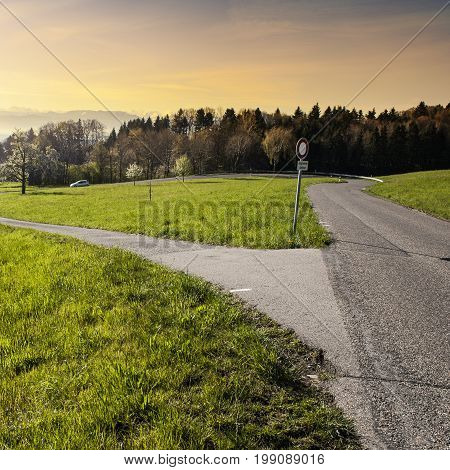 Winding asphalt road between pastures in Switzerland at sunrise. Swiss landscape with meadows and crossroads with a traffic sign