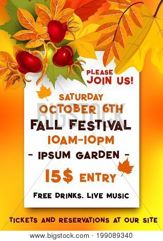 Fall festival banner for autumn harvest fest template. Fallen leaves of orange maple and chestnut tree foliage with briar fruit branch and text layout for Harvest Festival, Autumn Party poster design
