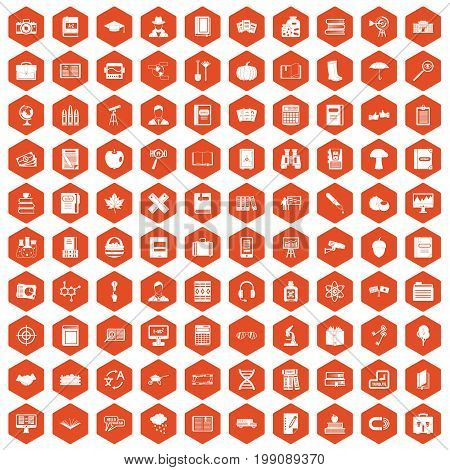 100 book icons set in orange hexagon isolated vector illustration