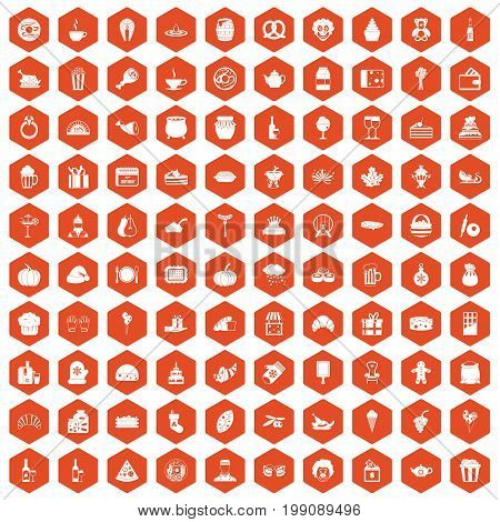 100 bounty icons set in orange hexagon isolated vector illustration