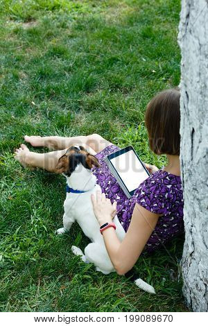 Anonymous woman in purple dress relaxing on green grass with tablet and her dog. Rear view. Crop shot with vertical orientation screen template.