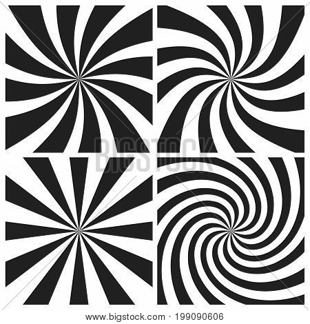 Psychedelic Spiral With Radial Gray Rays. Swirl Twisted Retro Background. Comic Effect Vector Illust