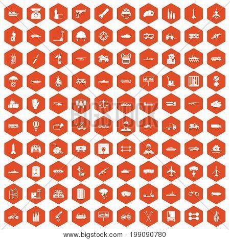 100 burden icons set in orange hexagon isolated vector illustration