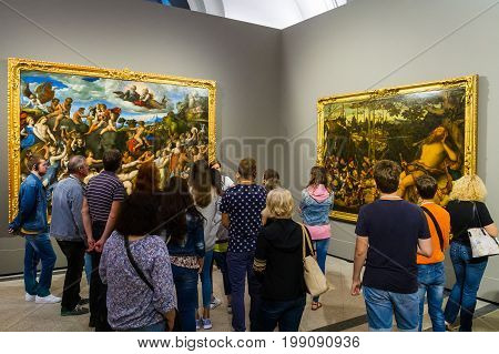 Dresden Germany - July 26 2017. Tourists viewing the exhibits at the Dresden Picture Gallery of Old Masters which was founded almost 300 years ago.