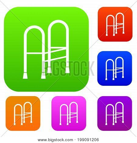Walker set icon in different colors isolated vector illustration. Premium collection