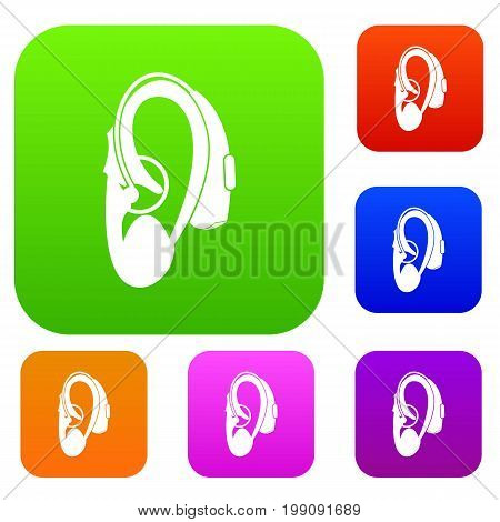 Hearing aid set icon in different colors isolated vector illustration. Premium collection