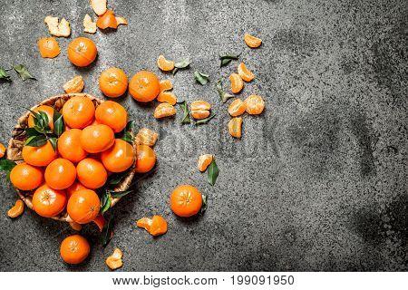 Fresh Mandarine In The Basket.
