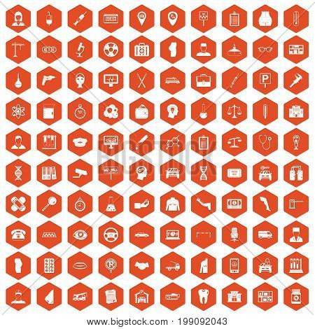 100 business day icons set in orange hexagon isolated vector illustration