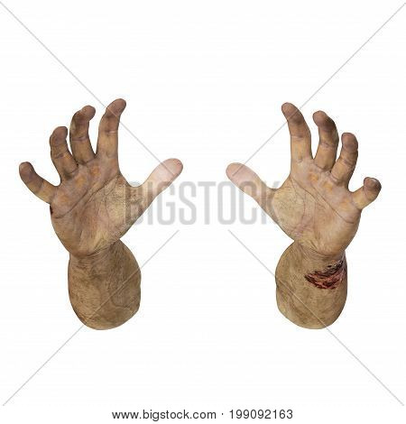 Terrible zombie hands, dirty hands of the mummy, on white background. 3D illustration, clipping path