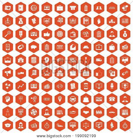 100 business group icons set in orange hexagon isolated vector illustration