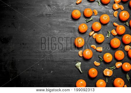 Ripe Tangerines With Green Leaves.