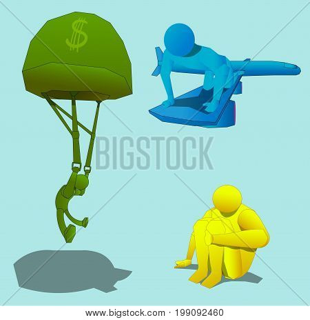 Three objects, representing three figures of a person. The first character flies by parachute. The second character sits on the wing of the plane. Another person is sitting with his hand on his leg.