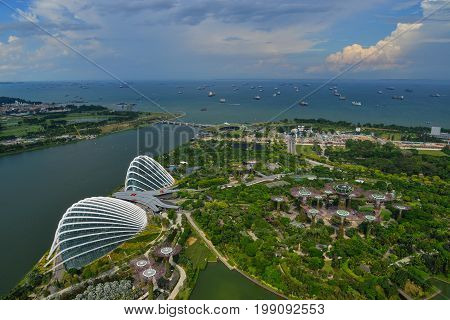 Aerial View Of Gardens By The Bay In Singapore