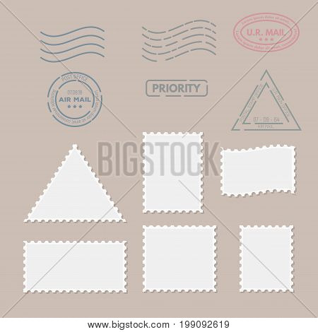 Postage stamps template. Blank rectangle square and triangle postage marks. Rubber wave stamps. Flat style modern vector illustration with retro colors. For for envelopes postcard or letter retro style paper.
