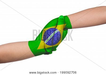 Helping Hands Of Two Children With Brazil Flag Painted