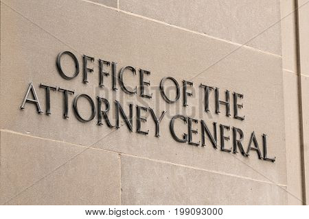 WASHINGTON DC - JULY 12: United States Office of the Attorney General sign in Washington DC on Juy 12 2017