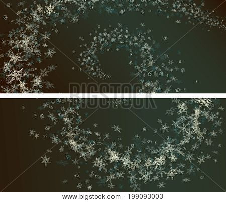 Set of horizontal wide banners of snowflakes spiral snowstorm in dark blue night.