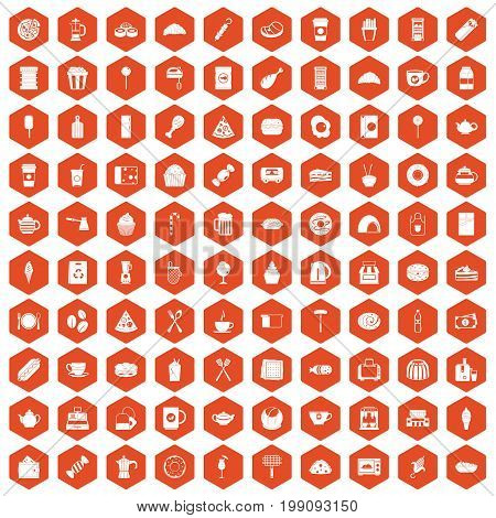 100 cafe icons set in orange hexagon isolated vector illustration