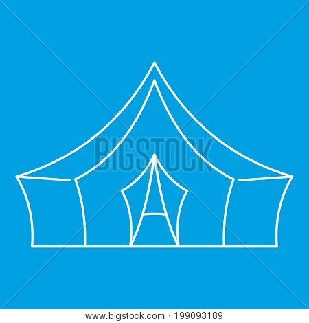 Awning tent icon blue outline style isolated vector illustration. Thin line sign