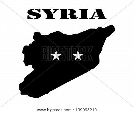 Black silhouette of the map and the white silhouette of the Isle of Syria symbol