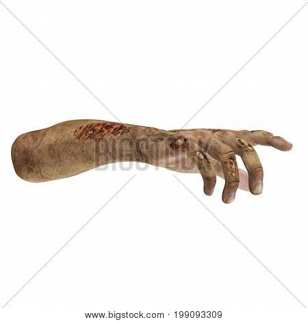 scary zombie hands on white background. 3D illustration, clipping path
