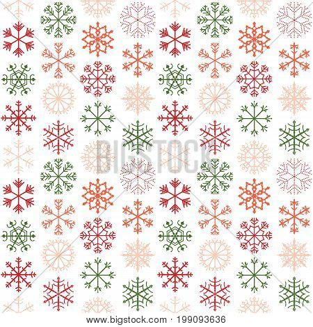 Seamless vector pattern with red pink and green snowflakes for Christmas and winter holiday product designs backgrounds and wrapping paper