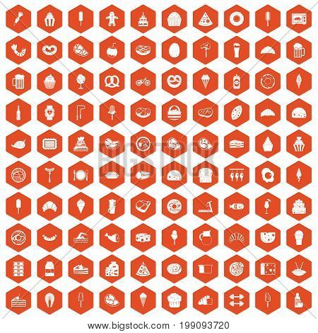 100 calories icons set in orange hexagon isolated vector illustration