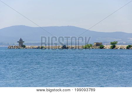 Sozopol Bulgaria - 22 Juny 2016 : Breakwater in the Sozopol's port