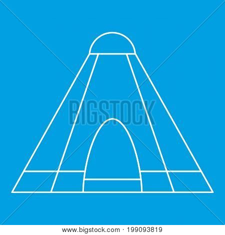 Tepee tent icon blue outline style isolated vector illustration. Thin line sign