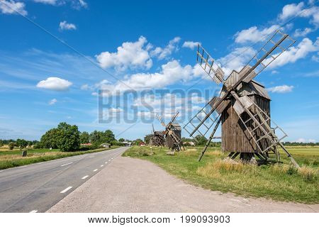 Traditional windmills on Swedish Baltic sea island Oland. Windmills are a common sight on Oland, which is nicknamed