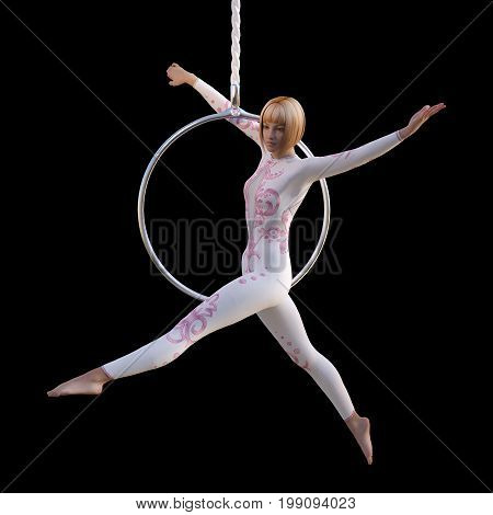 3D rendering of a female circus performer isolated on black background